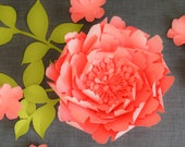 Peony paper flower template. PDF and SVG. 2 sizes.