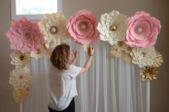 Paper flower backdrop paper flower template diy paper etsy image 0 junglespirit Image collections
