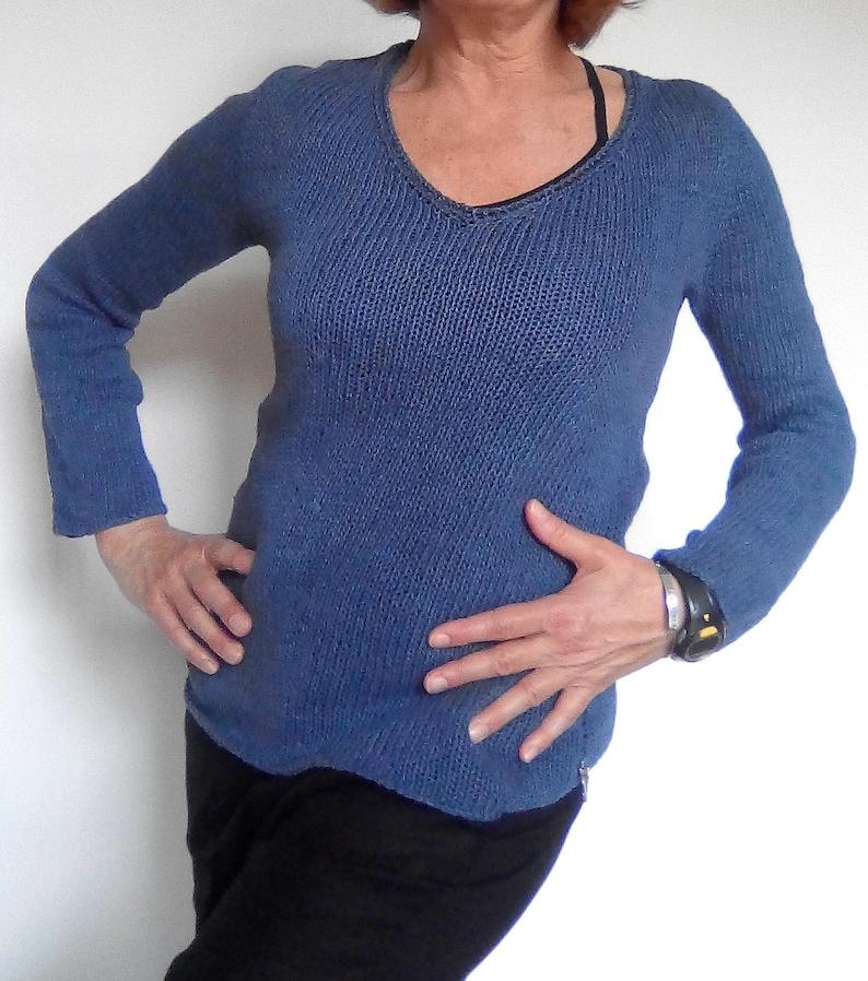 Woman blue linen sweater long sleeves handknitted V neck