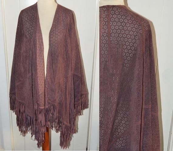 Burgundy suede cape - Vintage fringe jacket