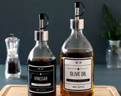Clear Glass Oil Vinegar Dispenser Bottle 300ml 500ml with Stainless Steel Pourer and choice of Designer Labels