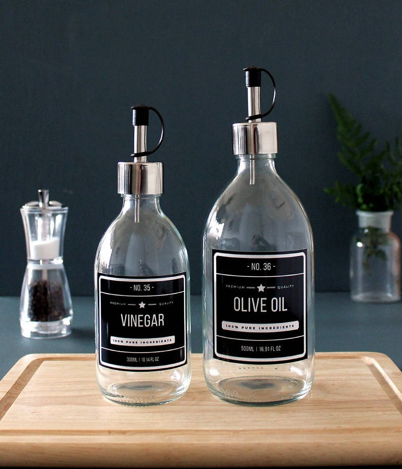 500ml with Stainless Steel Pourer and choice of Designer Labels Clear Glass Oil Vinegar Dispenser Bottle 300ml