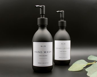 Matte Black Glass Apothecary Hand Wash, Hand Lotion Pump Dispenser Bottle with White Label