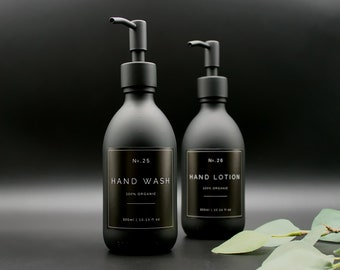 Matte Black Glass Apothecary Hand Wash, Hand Lotion Pump Dispenser Bottle with Black Label