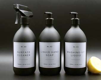 Black Glass Hand Soap, Washing Up Liquid, Surface Cleaner, Apothecary Kitchen Dispenser Bottles, White Label Collection