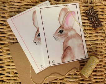 Spring Bunny set of 4 cards with envelopes