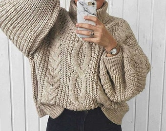 8066e58fdc4 Beige Chunky arm knit sweater - Cable knit sweater handmade sweater Knit  sweater - Wool Pullover Warm Sweater Oversize Sweater Women s