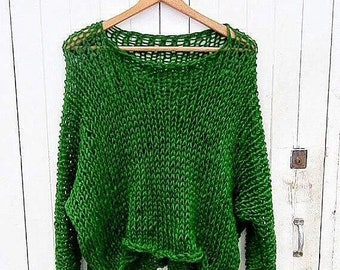 3c703fd6cea4 Green knit cotton sweater - Hand Knit cotton women sweater - Loose cotton  sweater - Arm Knitting women pullover - Loose natural women top