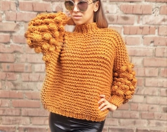 8286f2fbbd283f Bobble sweater Chunky arm knit sweater Yellow sweater - Handmade sweater - Knit  sweater with bubbles Pullover Warm Sweater Oversize Sweater