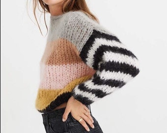 4ea0148bd99164 Striped arm knit sweater - Hand Knit color set women sweater - Mohair Wool  sweater - Arm Knitting women pulover - Oversize sweater