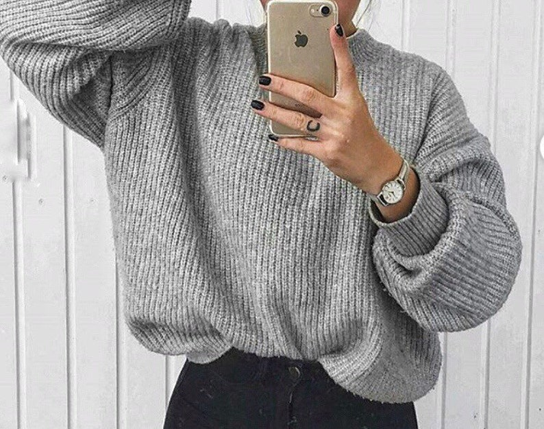 b7a79e09a32 Oversized gray Arm knit sweater handmade wool sweater Knit