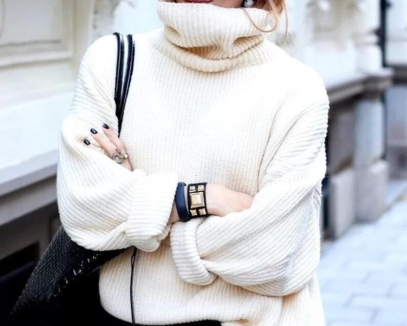 White sweater  turtle neck sweater  long oversized white image 0