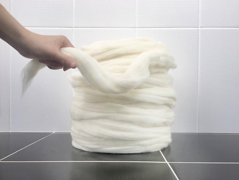 Unspun Merino Unspun wool Super Chunky Yarn Unspun Yarn White Chunky Yarn Merino Wool Yarn Chunky Wool Super Bulky Yarn