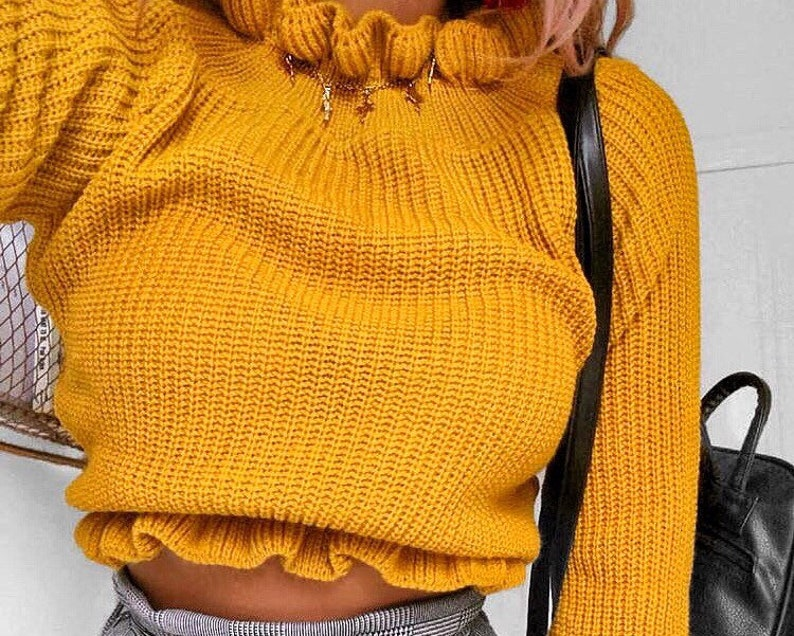 6c3d8e1df59 Yellow short sweater with frills Frill women s sweater