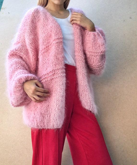 Pink women cardigan Mohair cardigan Hand Knit women cardigan Angora Wool cardigan Arm Knitting women jaket Oversize Mohair cardig