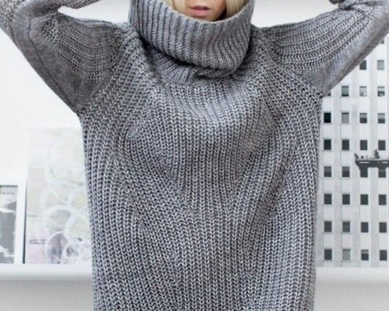 e11889cc135 Grey long sweater Oversized women sweater gray Arm knit tube