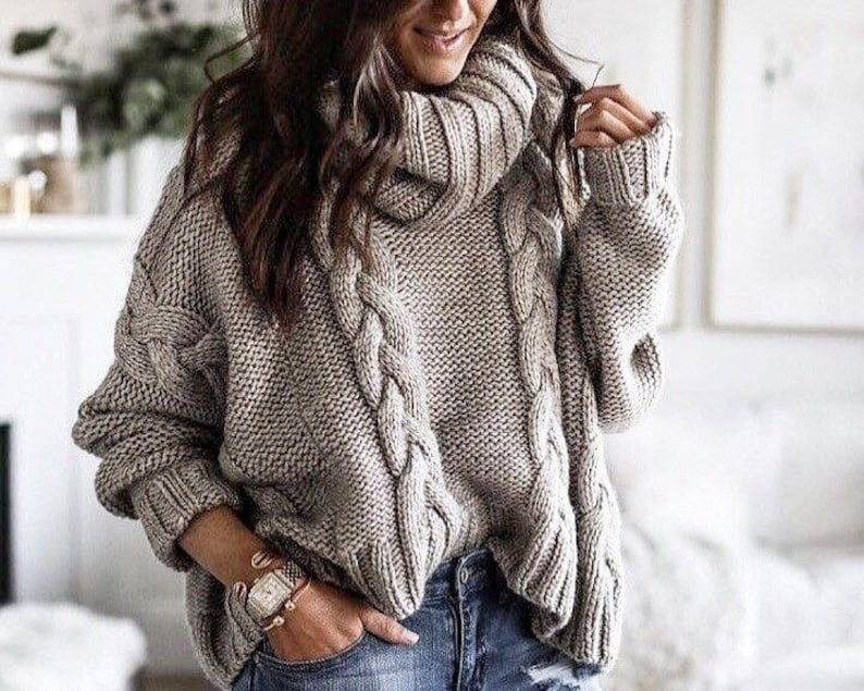 Hand knit Grey Oversized sweater  gray Arm knit sweater  image 0