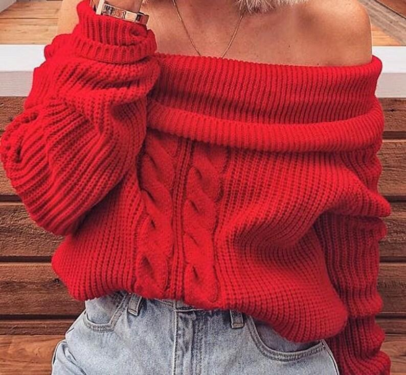 abf1964e706 Red women sweater Arm knit red sweater handmade wool