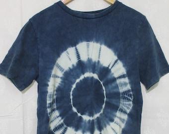 Natural Indigo tie dye stone washed tshirt.