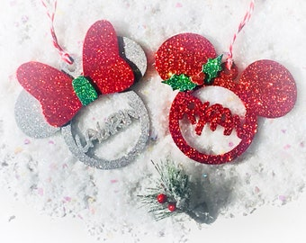 mickey and minnie personalised christmas decoration i disney christmas decor i mickey tree decoration i minnie tree decoration i disney