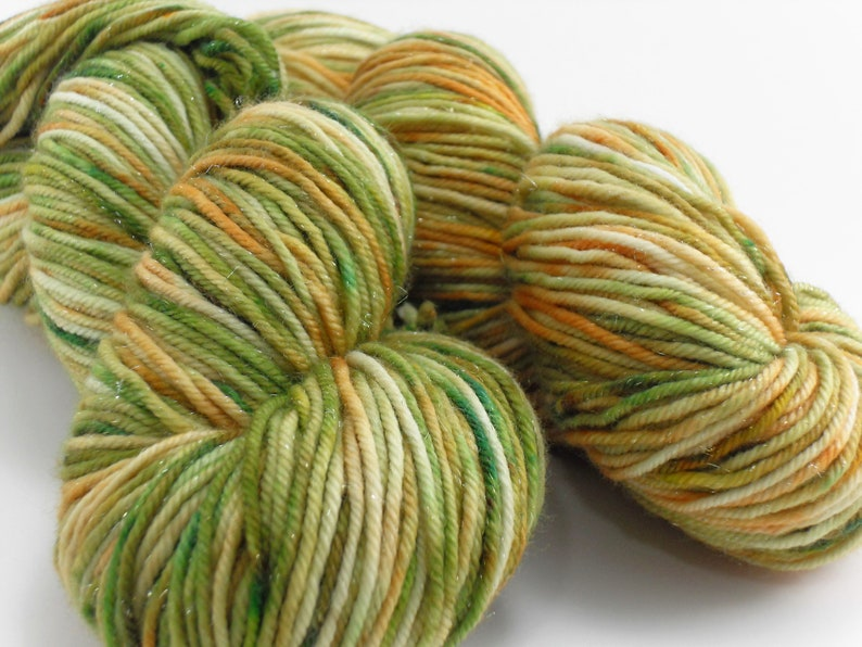 Pumpkin Dew Hand dyed Yarn Sparkling Silver 100 gram skein