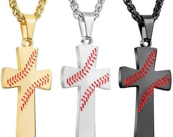 b9b4c6ed195c99 Baseball Cross Pendant Necklace - Stainless Steel Gold Silver or Black