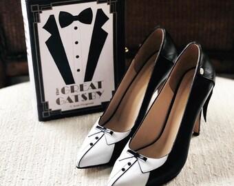 c337eb9c63776 Handmade Leather Scarpin Black Tie High Heels Pumps | Etsy