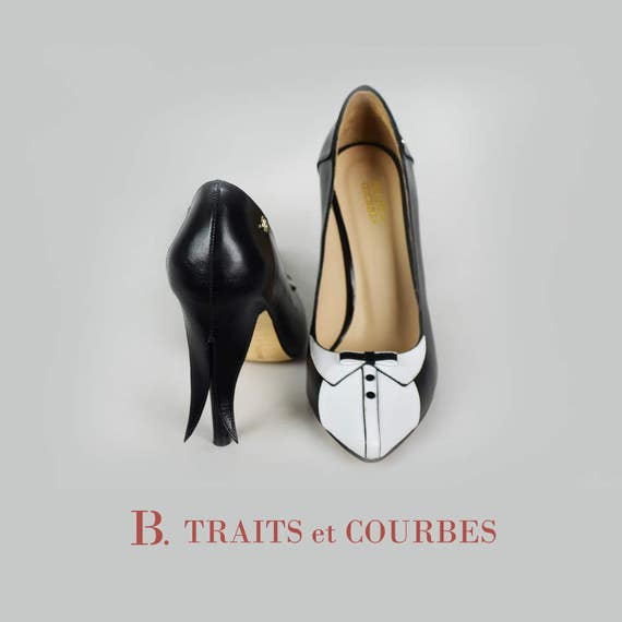 b8dc13d50050c Handmade Leather Scarpin | Black Tie | High Heels | Pumps | Women's Shoe |  Handcrafted Leather Shoes | Black and White Shoes | Made to Order