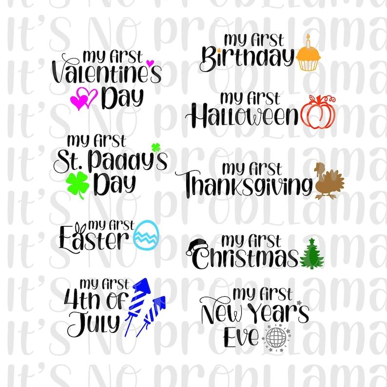 Baby Onesie png Baby Holiday Bibs jpeg Holiday Milestone Blanket Cricut svg Cameo Holiday Milestones Silhouette