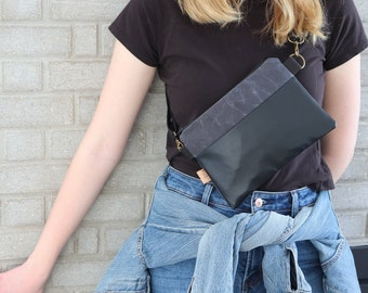 Modern and Minimalist Flat Hip Bag. and shopping Hipster Vegan Belt Bag for concerts travel Grey Waxed Canvas Fanny Pack for Women