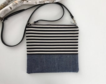 Stripes & Denim Crossbody Purse // Striped Purse // Handmade Purse // Denim Purse // Denim Bag // Adjustable Strap //Shoulder Bag