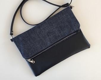 Denim & Vegan Fold Over Bag // Fold Over Purse // Crossbody Bag // Crossbody Purse // Fabric Bag Purse