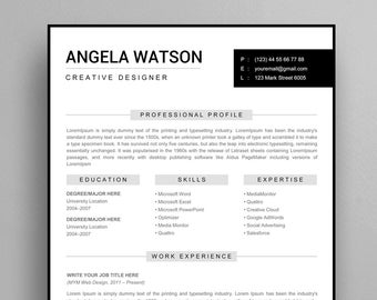 Resume Template Instant Download Professional For Word And Pages Chic With Cover Letter
