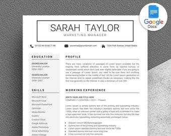 Google Docs Resume Template, New Google Docs Resume Template, Creative Resume Template Instant Download