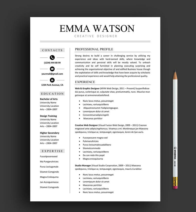 Resume Template Professional Resume Template Instant Etsy