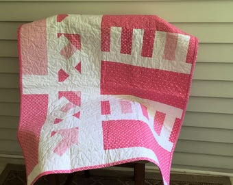 Baby quilt, crib quilt, play mat, nursery, decor, pink, white,