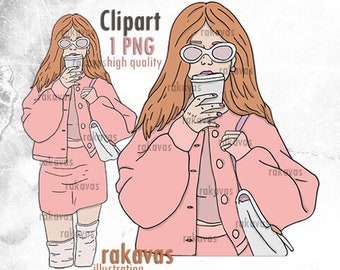Fashion Girl Clipart - Unlimited Production License - Red hair girl clipart girl with cup girl boss fashion girl illustration