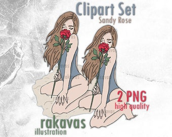 Girl smelling Rose Clipart - Unlimited Production License - brown hair girl with red rose clipart, girl in the beach swimsuit clipart