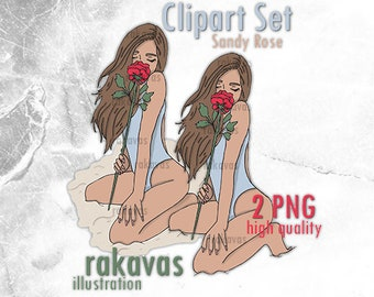 Girl smelling Rose Clipart - Unlimited Production License - Latin american girl with red rose clipart, girl in the beach swimsuit clipart