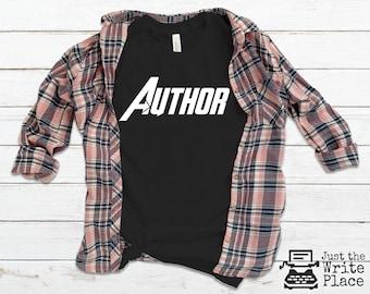 White Author Avenger Novelist Writer Unisex T Shirt, Nanowrimo, Gifts for Authors, Gift Ideas for Writers, Author T Shirts