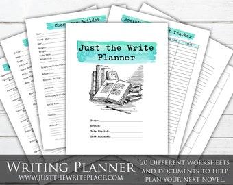 Watercolor Writing Planner Digital Printable, Novel Planning, NaNoWriMo, Writing Worksheets, Novel Planner, Novel Plotting, Novel Worksheets