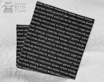 Writing Words Neck Gaiter, Face Mask, Author Writer Nanowrimo, Gifts for Authors Writers, Gift Ideas for Writers, Presents for Writers
