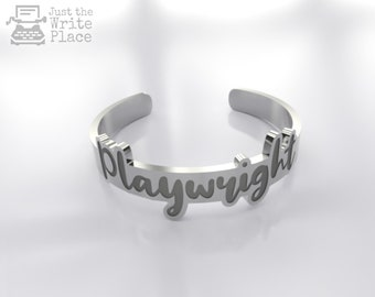 Engraved Playwright Ring, Nanowrimo, Gift Ideas for Writers, Presents for Writers
