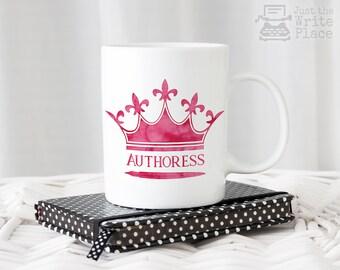 Authoress Pink Crown Coffee Mug - Writer Gift - Author Gift - NaNoWriMo