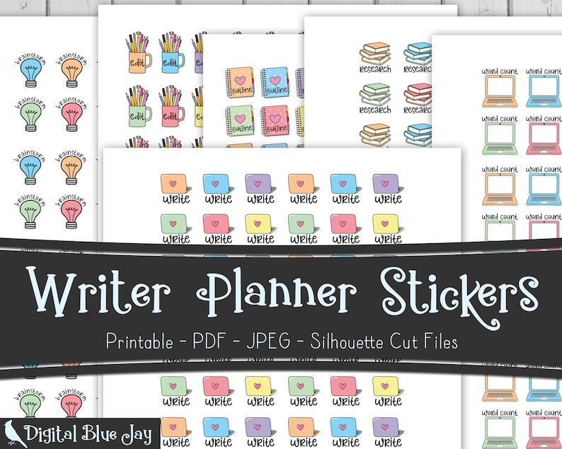 Writer Printable Planner Stickers Bundle Write Brainstorm image 0