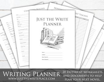 Writing Planner Digital Printable, Novel Planning Binder, NaNoWriMo, Writing Worksheets, Novel Planner, Novel Plotting, Novel Worksheets