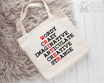 Writer Bag, Word Art Canvas Tote Bag, Nanowrimo, Gifts for Authors, Gift Ideas for Writers, Presents for Writers, Bo