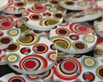 8 Retro Circles Buttons 30mm Wooden 60s 70s Fashion Loops Vintage Winter Autumn Sewing Craft Ladies Mens Muted Tones Statement Buttons Hippy