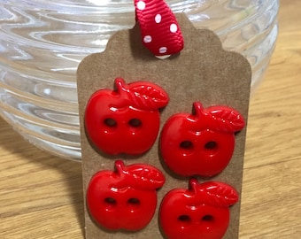 4 Red Apple Shaped Buttons 22mm