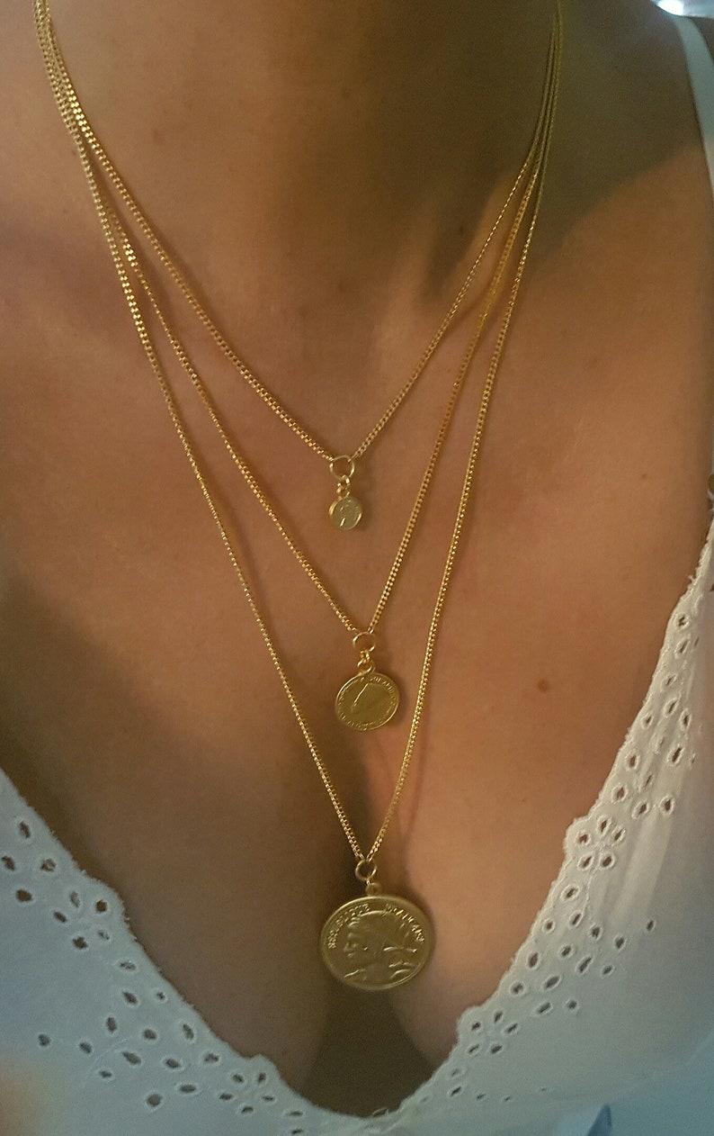 gold medallion necklace LONG charm necklace layer pendant necklace